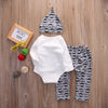 3PCS New autumn baby girl clothes set Baby Girl Boy Tops Romper +Long Pants Hat baby clothes newborn baby clothing set