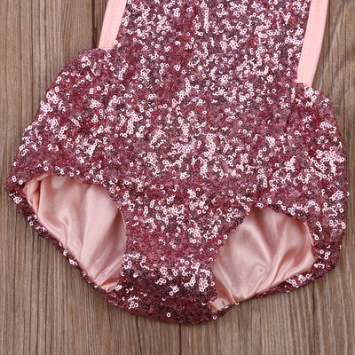 Newborn Infant Baby Girl Lace Sequins Splice Romper Sequins Halter Jumpsuit Outfits