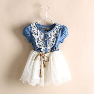 Summer Children Princess Baby Girls Party Lace Flower Tulle Denim Patchwork Dress Casual Dresses