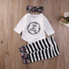 Newborn Baby Clothes Cotton Baby set Floral Baby Girl Clothes Romper+Stripe Pants Leggings +Headband Outfit