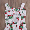 Princess Style Summer Toddler Girls Jumpsuits Rose strawberry Floral Printed Baby Girl Ruffle Romper Infant Kids Overalls