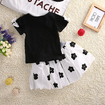 Girls clothes summer Baby Girls Black Short Sleeve T Shirt+ Floral Skirt Dress 2pcs Clothes Outfits Set