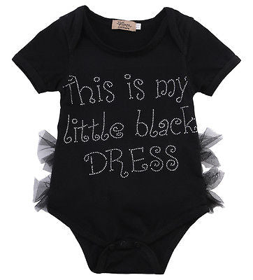 Cute Baby Girl My Little Black Dress Romper Lace Patchwork Jumpsuit Outfits One-pieces