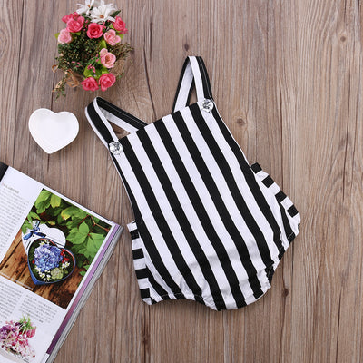 Cotton Newborn Baby Girl Striped Sleeveless Romper Backless Jumpsuit Outfits