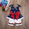 Baby Girl Clothes kids born baby girls clothing sleeveless Anchor Bow Cotton Tops Vest+Shorts Outfits