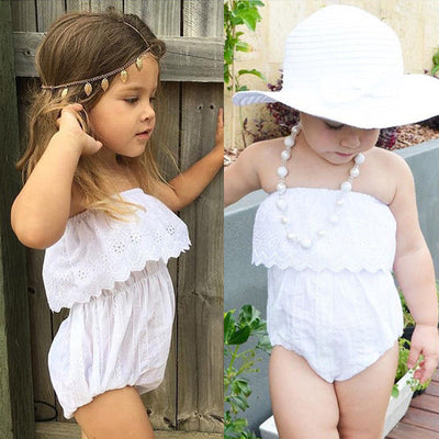 Newborn Baby Girl Kids Clothes Hollow out lace Off-shoulder Romper Jumpsuit Outfits