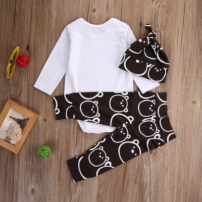 3Pcs/Set Baby Girl Boy Clothes Cotton Long Sleeve Romper+ Pants+ Casual Hat Cap 3pcs Outfits Set Autumn