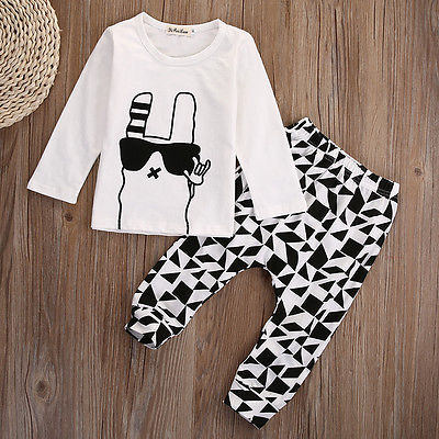 New baby boy clothing set cotton Glasses Rabbit printing t-shirt+pants fashion baby boys clothes newborn infant 2pcs suit
