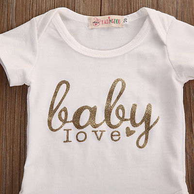 New baby girl clothes letter printed short sleeve Romper pants infant clothing newborn baby boy clothes