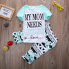 Summer children clothes Sets Kids Short Sleeve T-shirt Tops+Geometric Pants Trousers 2PCS Set