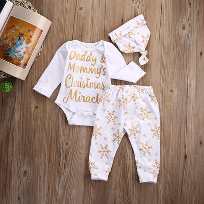 3Pcs/Set !Autumn newborn baby girl clothes Christmas Baby Girl Boy Snowflake Romper Pants Legging Hat Outfits Set Clothes