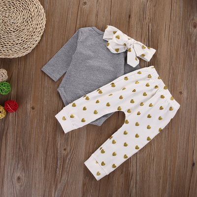 New Autumn baby boy clothes set cotton T-shirt+pants+Headband Infant clothes newborn baby clothing
