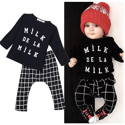 Newborn Baby Boys Girls Long Sleeve Letter T-shirt+ Plaid Pants Sport wear Tracksuit Children Clothing