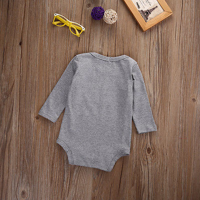 Autumn Infant Newborn Baby Girl Boy Letters Romper Cotton Gray Jumpsuit Long Sleeve Outfit Clothes