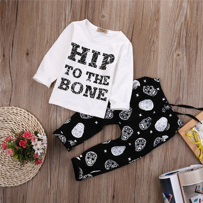 Baby Boys Clothing Set Long Sleeve Black Baby Boy Clothes Set Children Letter T Shirt Pant 2pcs Set