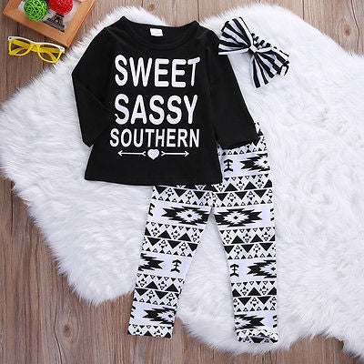 Autumn kids girls sets clothes Hair Band Shirts Pants Children's Clothing Set Girls Clothes Suits