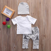 3Pcs Set Spring Autumn style Infant clothes Clothing sets Baby Girl Boys Long Sleeve romper+ Pants+hat Kids Clothes Suit