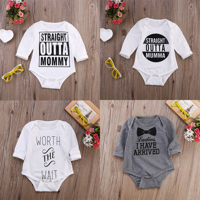 Autumn Winter Casual Kids Baby Girl Boys Letter Printed Long Sleeve Cotton Romper Jumpsuit Outfits