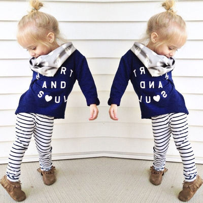 Girls clothes Baby Girl Clothing Set Children Fashion Suit  Kids Letter Print Top T Shirt +Striped Pants Leggings