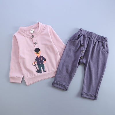Baby Boy Clothes Long Sleeve Portrait Print Sweatshirts+Pants Kids Clothing Sets