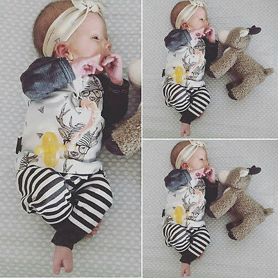 Baby boy clothes kids clothes sets Baby Boy Girl Deer Tops T-shirt+Striped Pant Outfits Set Clothing