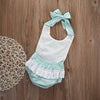 Kids Baby Girl Spaghetti straps Halter Sky Blue lace Romper Backless Jumpsuit Lace Sunsuit Outfits One-pieces