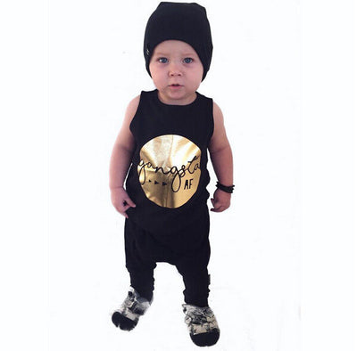 Newborn toddler baby boy clothing sets summer outfits print t-shirt and pants boy clothes sets