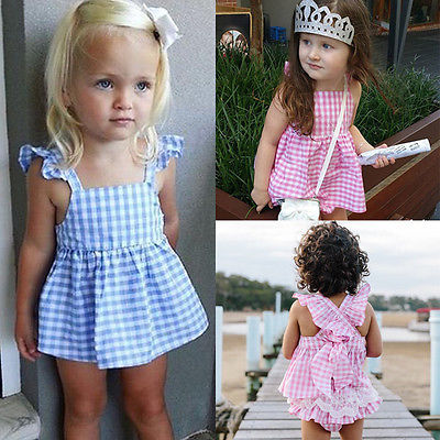 2pcs/set Tops Dress+Briefs Princess Baby Girls Clothes Plaids Ruffles Tops Dress+Briefs Outfits Set Sunsuit