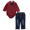 Autumn Winter Fashion Baby Boy Clothes Sets Gentleman Long Sleeve Red Plaid rompers +denim pants Suit Kids Boy Clothing Set