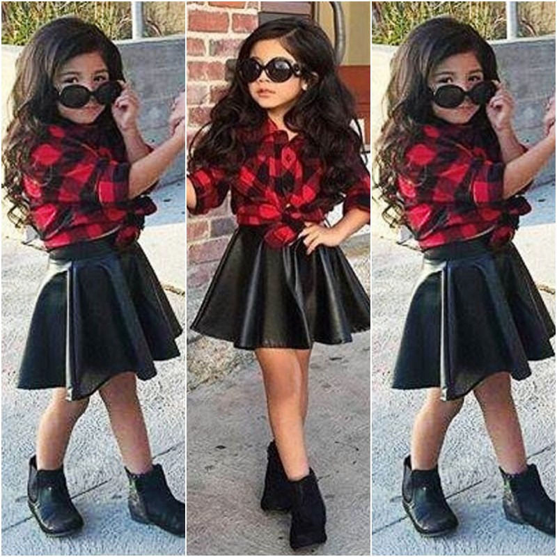 982b8feefa60d Spring Fashion Girls Kids Princess Plaid Tops Shirt Leather Skirt Summer  Outfits Clothes