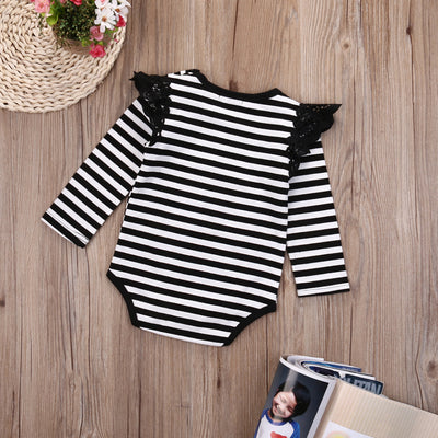 Newborn Baby Clothing Long Sleeve Striped Lace Splice baby Rompers Girls Cotton Jumpsuit Clothes