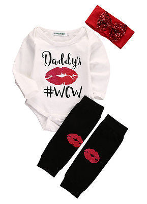 3Pcs/Set Newborn Infant Baby Boys Girls Long Sleeve Lip Romper + Stockings +Headband 3pcs Outfits Set Autumn Sun-suit Clothes