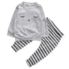 Cute born Baby Girl Boy Clothes eyelash Tops T-shirt Long Sleeve + Striped Pants Casual 2pcs Outfits Set Autumn