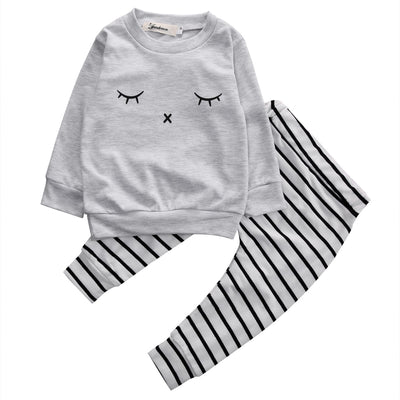Cute Newborn Baby Girl Boy Clothes eyelash Tops T-shirt Long Sleeve + Striped Pants Casual 2pcs Outfits Set Autumn