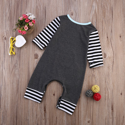 New Spring autumn fashion Newborn Baby Girls Boys Cotton Romper infant Body Suit letter Long Sleeve Striped Clothes