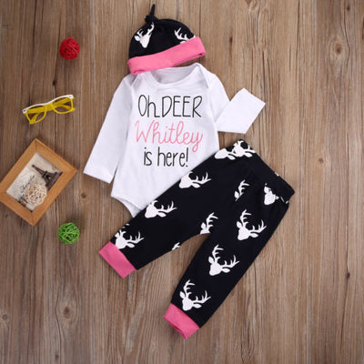 Newborn Autumn Baby Clothing Sets Baby Girls Deer Tops Romper+ Pants Hat Outfits Clothes