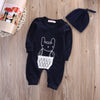 Autumn Kids Newborn Infant Baby Boys Girls Lace Rabbit Romper Long Sleeve Cotton Jumpsuit Hat Outfits