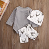 Newborn Baby Girls Boys Cotton Clothes Deer Romper Top+Long Pant+Hat newborn baby boy clothes set