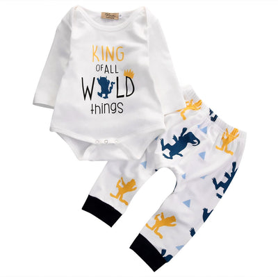 Autumn Fashion baby Boys clothes Baby Boys Long Sleeve Romper Pants Leggings Outfits 2PCS Set newborn baby boy clothing set