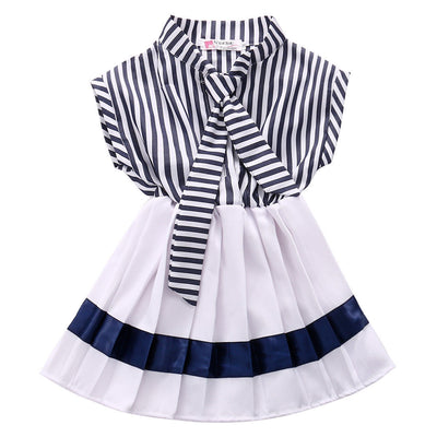 Hot Girls striped Chiffon One-Piece Dress With tie Collar Children Clothes For Kids Baby striped white