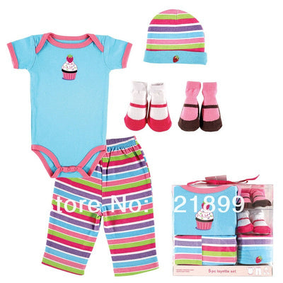 Newborn Baby Clothing Set Summer Baby Girl and Boy Layette Box Set Fashion Baby Romper 5 pcs