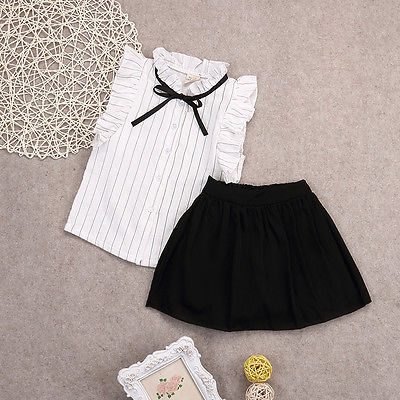 Children's clothing new summer girls Peter Sleeve shirt+ short skirt set kids clothes suit