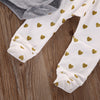 3 pcs Kid New Born Baby Girl Infant Kid Set Babies Gray Bodysuit onesie+Heart Dots Pant +Headband Outfit Sets Clothing