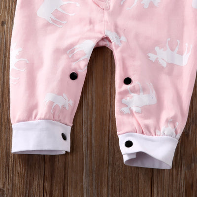 Autumn Adorable Pink Baby Girls Reindeer Long Sleeve Romper Jumpsuit Outfits Clothes 0-18M