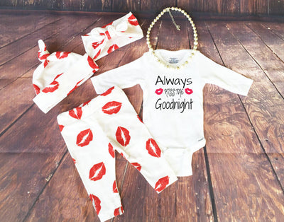 Newborn Baby Girl Clothing Set Red Lip Romper+Pants +headband + cap Outfits Bodysuit Clothes Set 0-24M