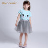 Girls Dress Girls Clothing Sets Kids Clothes Cartoon Cat Print Pearls Voile Dress for Princess Dress