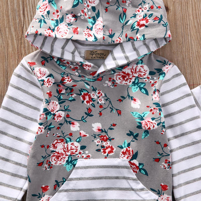 New arrival girl & boys clothes set Adorable Newborn Baby Girls Floral Clothes Hooded Tops Pants Home Outfits Set