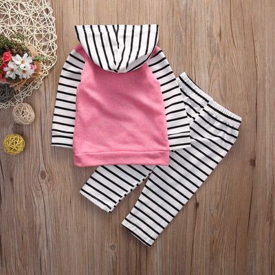 Newborn baby suit children clothing Baby Girls Suit Long Sleeve Tops Hoodie + Striped Pants 2pcs Outfits Set Clothes