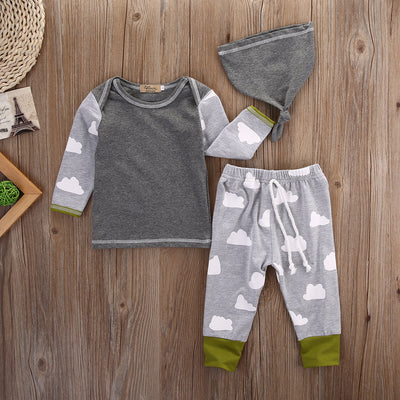 New baby boy clothing set clouds long sleeve printing t-shirt+pants+hat fashion baby boys clothes newborn infant 3pcs suit