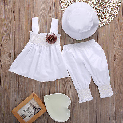 3pcs/set Newborn Baby Kids Girls Princess Sleeveless Dress+Pants+Hat Suit Outfits Outwear clothing set baby girl